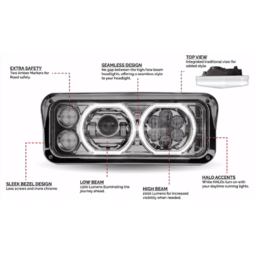 Headlights Assembly Shop: New Halo Led Headlight Assembly » 75 Chrome Shop