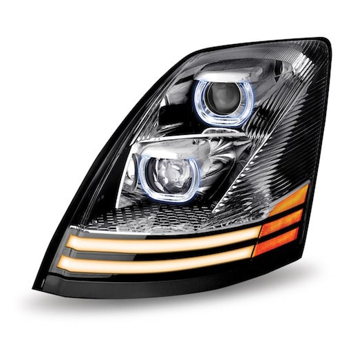 Headlights Assembly Shop: Volvo VNL LED Projector Headlight Assembly With 2 LED