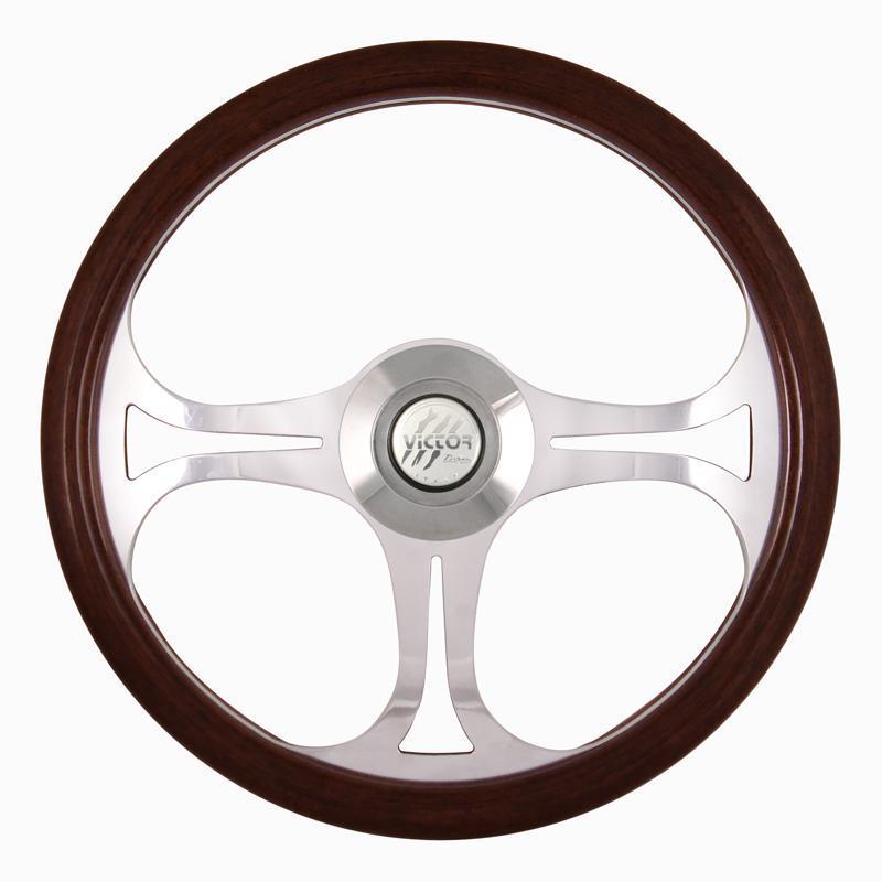 """18/"""" Wood Steering Wheel Chrome 3 Spoke /& Horn Freightliner Kenworth Peterbilt"""